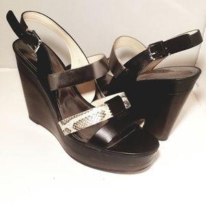 Coach Edessa Sandal Wedge Platform Leather sz 9